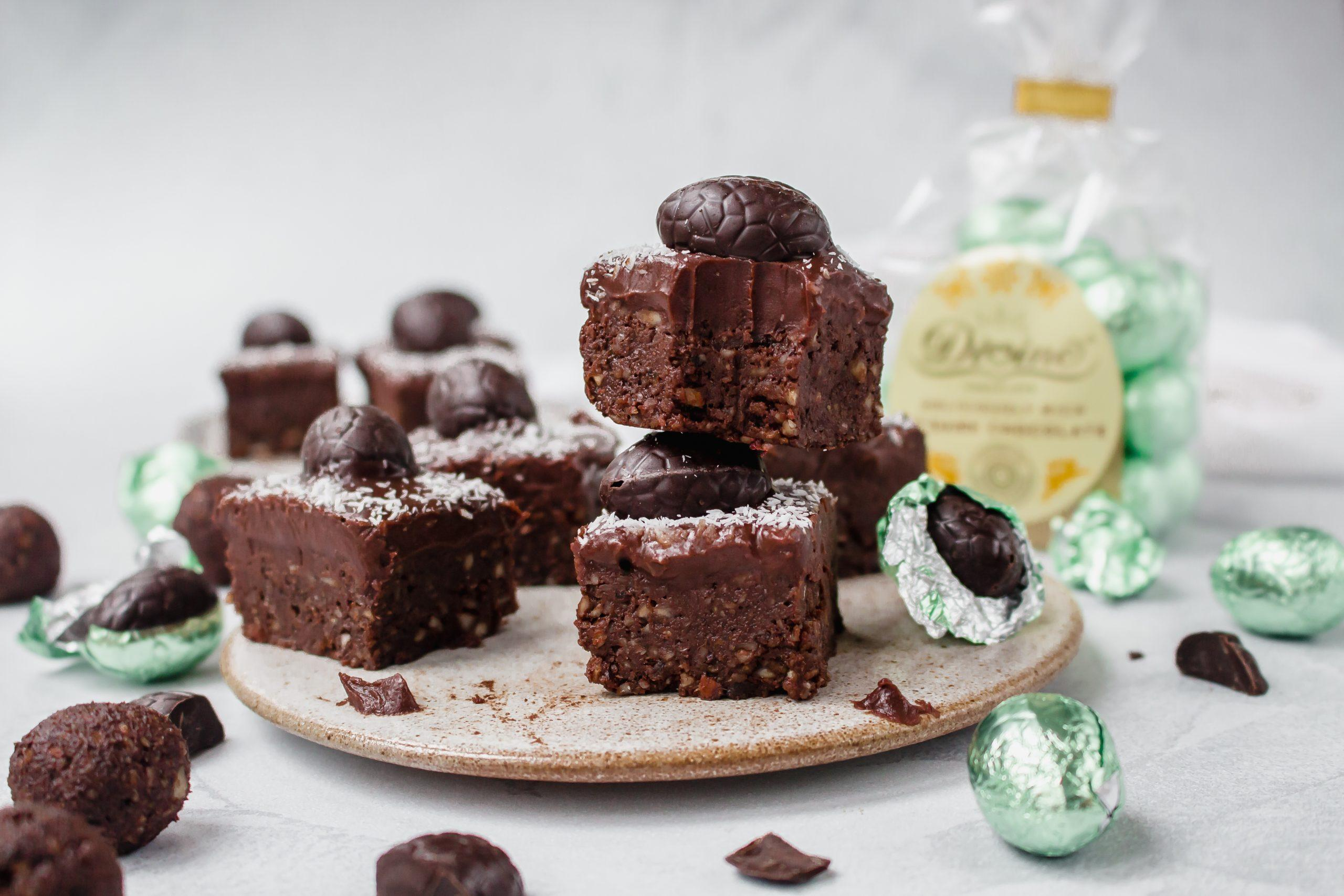 Mini egg raw chocolate ganache brownies