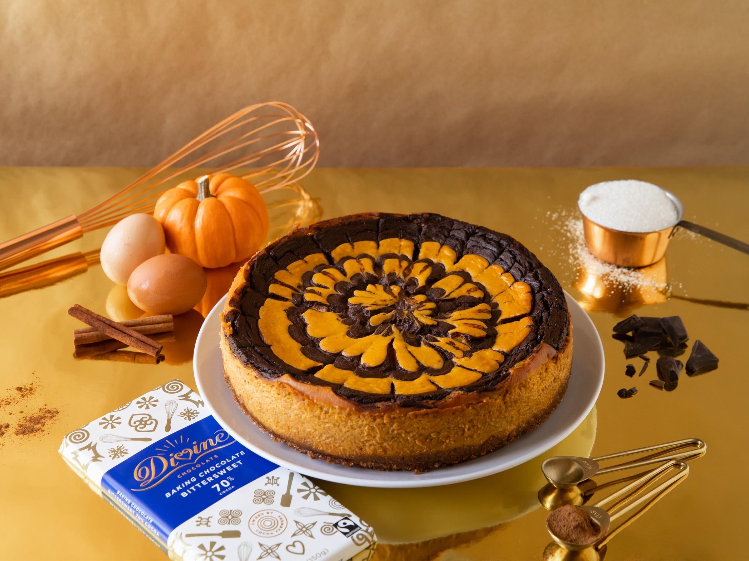 Pumpkin Cheesecake with Chocolate-Stout Ganache Swirl