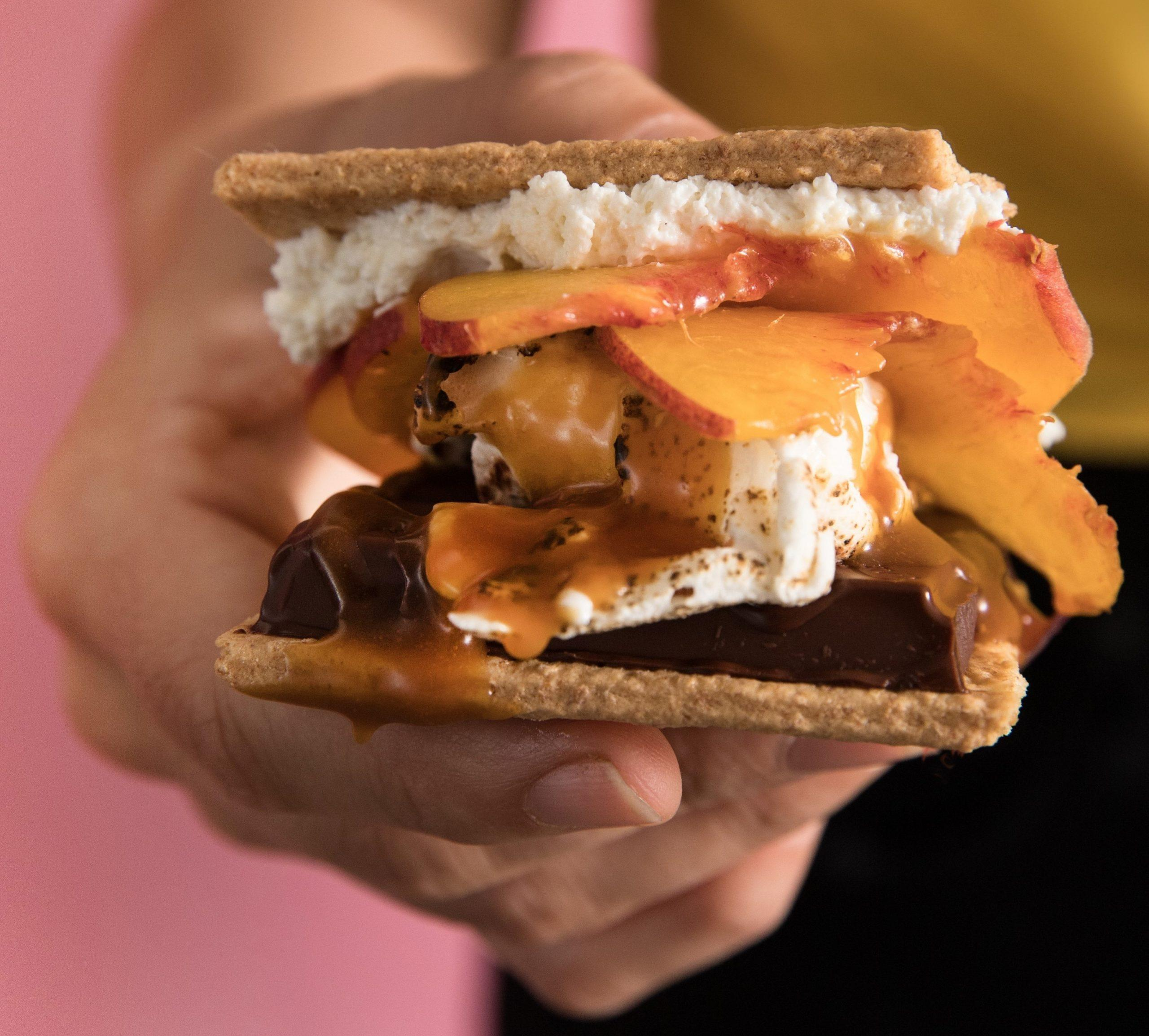 Peaches and Caramel Cheesecake S'more
