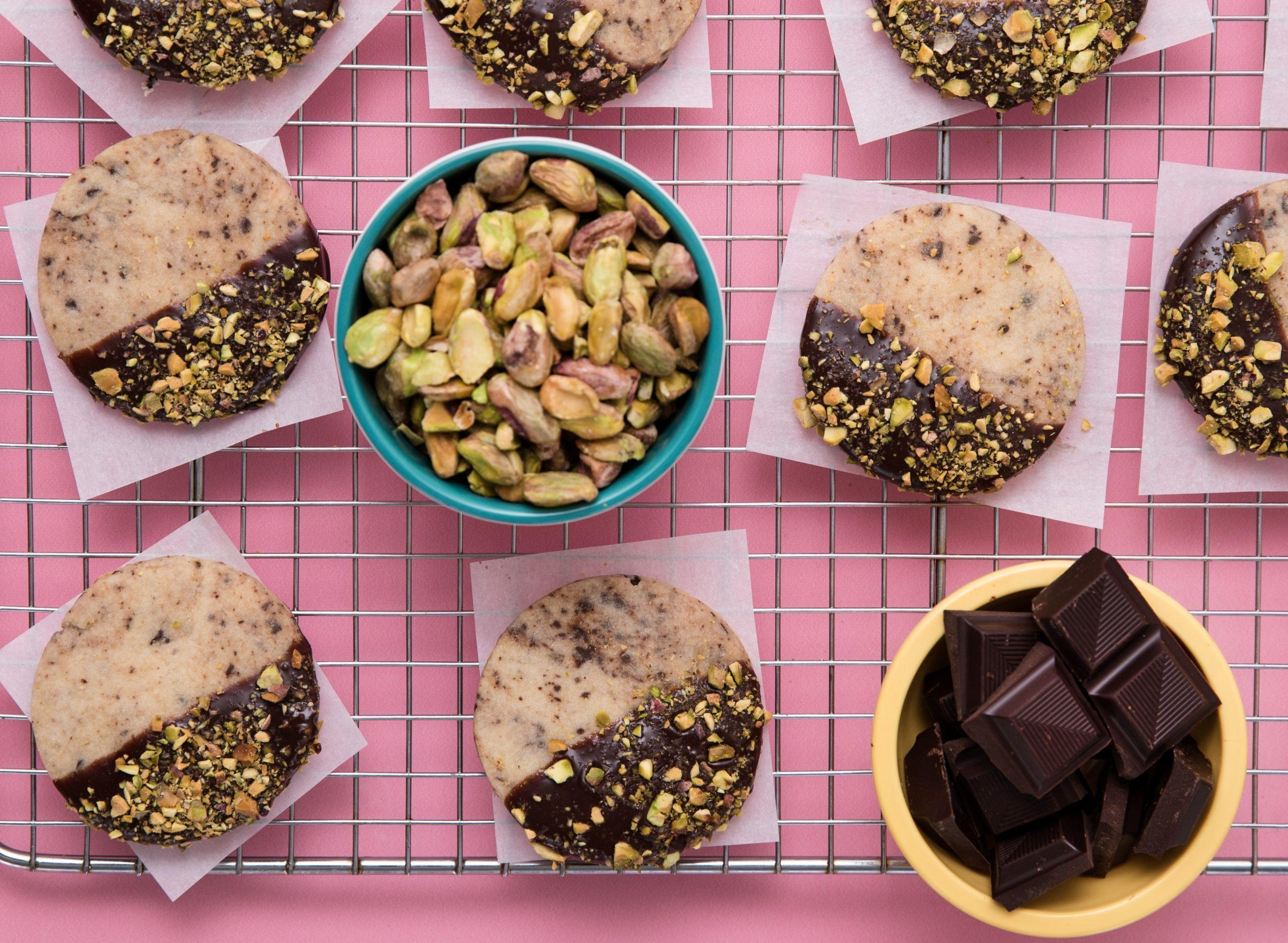 Chocolate Dipped Shortbread Cookies with Pistachios