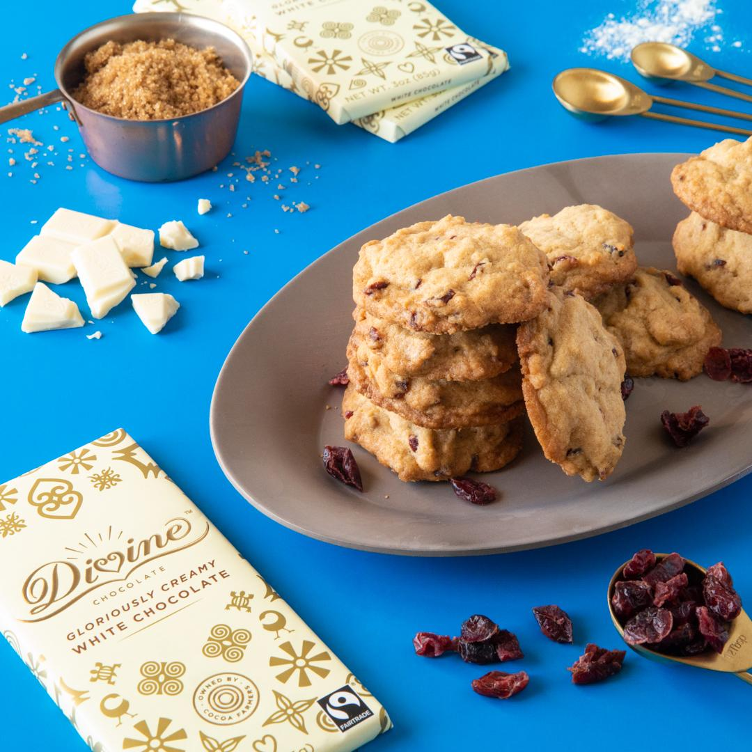 White Chocolate Cookies Studded with Cranberries