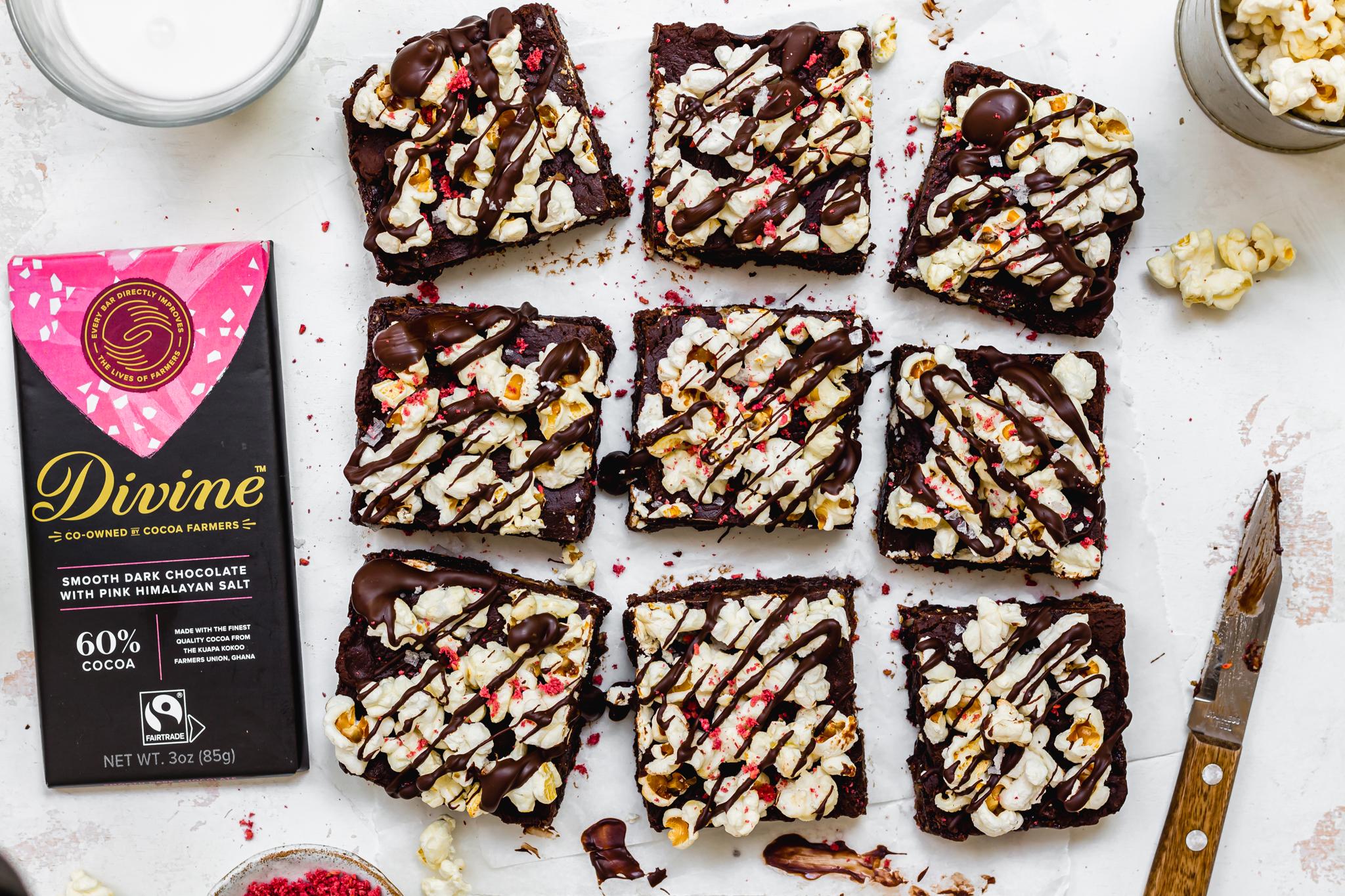 Sweet and Salty Popcorn No-Bake Brownies